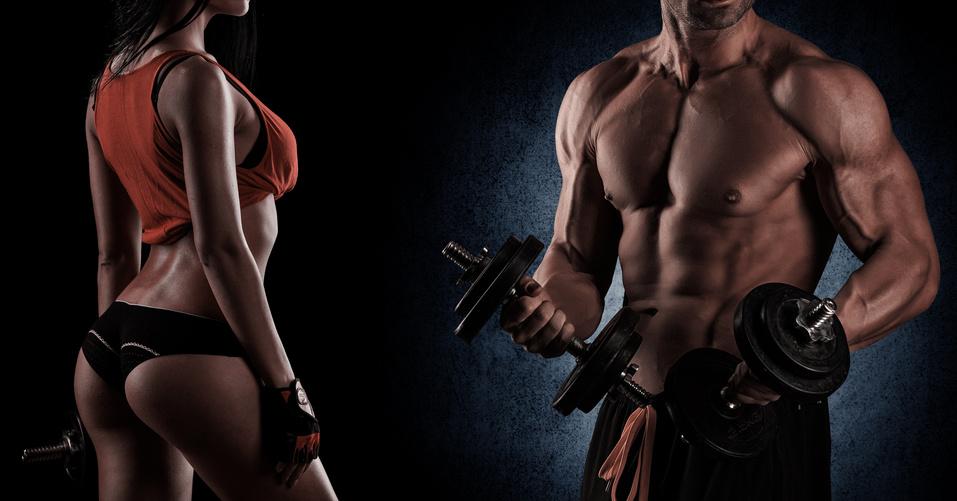 zu sehen ist eine mann und eine frau mit traineirten körpern, betreiben fitness