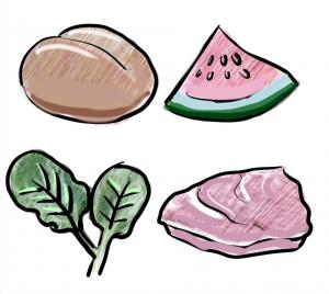 wie funktioniert trennkost, es ist ein bild zu sehen mit einem brötchen, wassermelone, salat und fleisch, die getrennte kost
