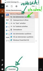 rechtsklick als administrator für windows store installation