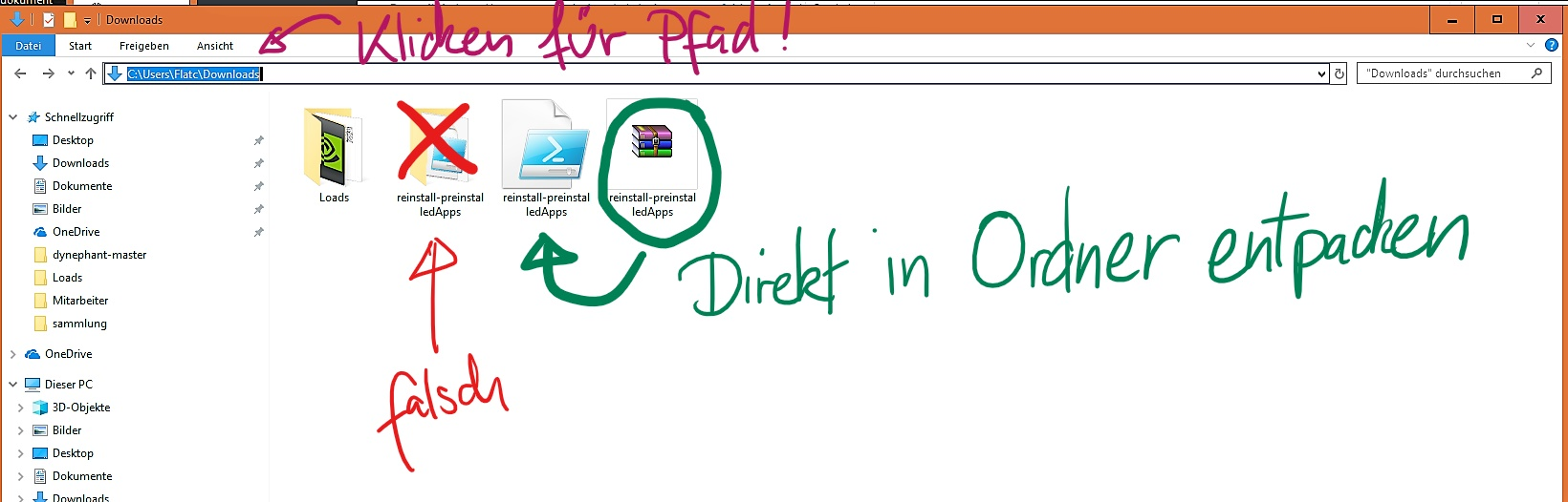 Dateipfad für windows store installation finden